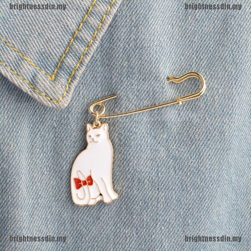 Enamel Animal Cat Brooch Pins Shirt Collar Pin Breastpin Women Jewelry Gift  I