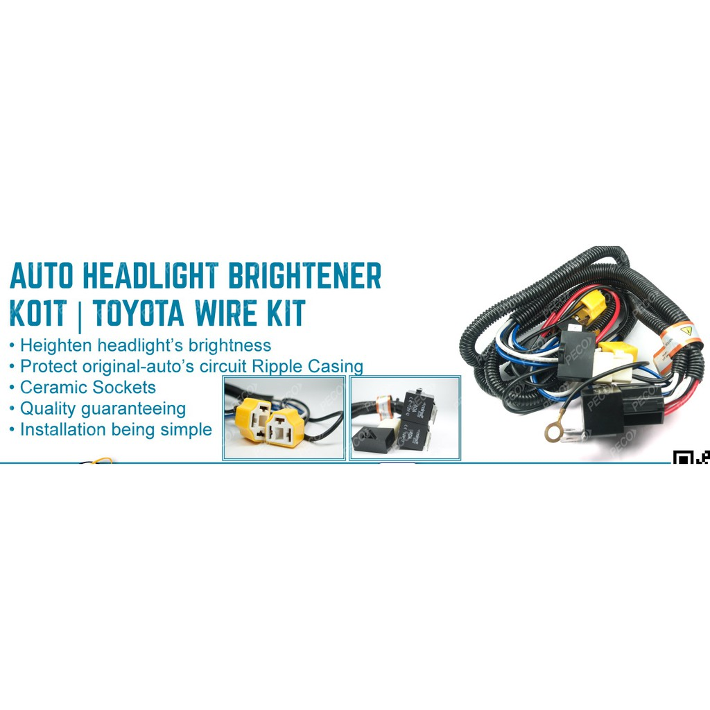 Kaier K01t H4 Car Halogen Head Lamp Cable With Relay 2 Lampsbox Wiring Fog Exora Shopee Malaysia