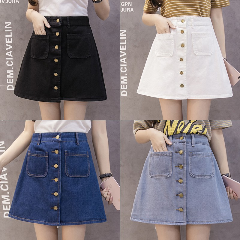 a9c77b4130 ProductImage. ProductImage. Women A-line Pencil Jeans Skirt Front Button  High Waist Denim Pockets Skirt