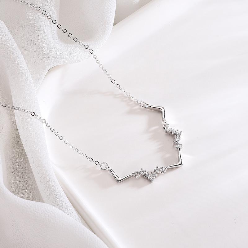 993d25246b3 S925 Sterling Silver Wave Diamond Necklace Female Korean Tem ...