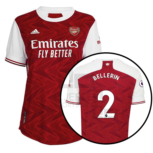 Arsenal Women Home Season 20/21 AEROREADY Fans Issue Jersey with EPL #2 BELLERIN + Patch Printing