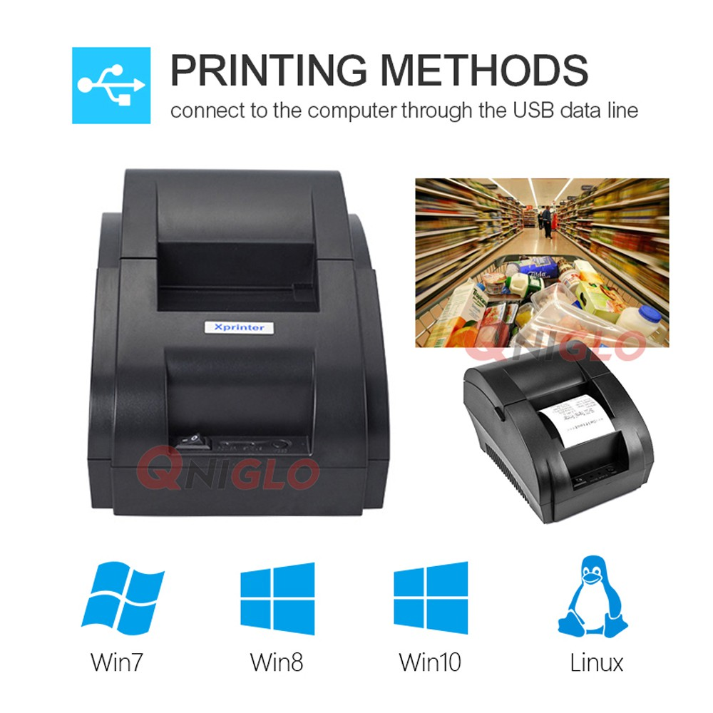QNIGLO Portable USB Thermal Receipt Printer Compatible with Bill Ticket 58mm