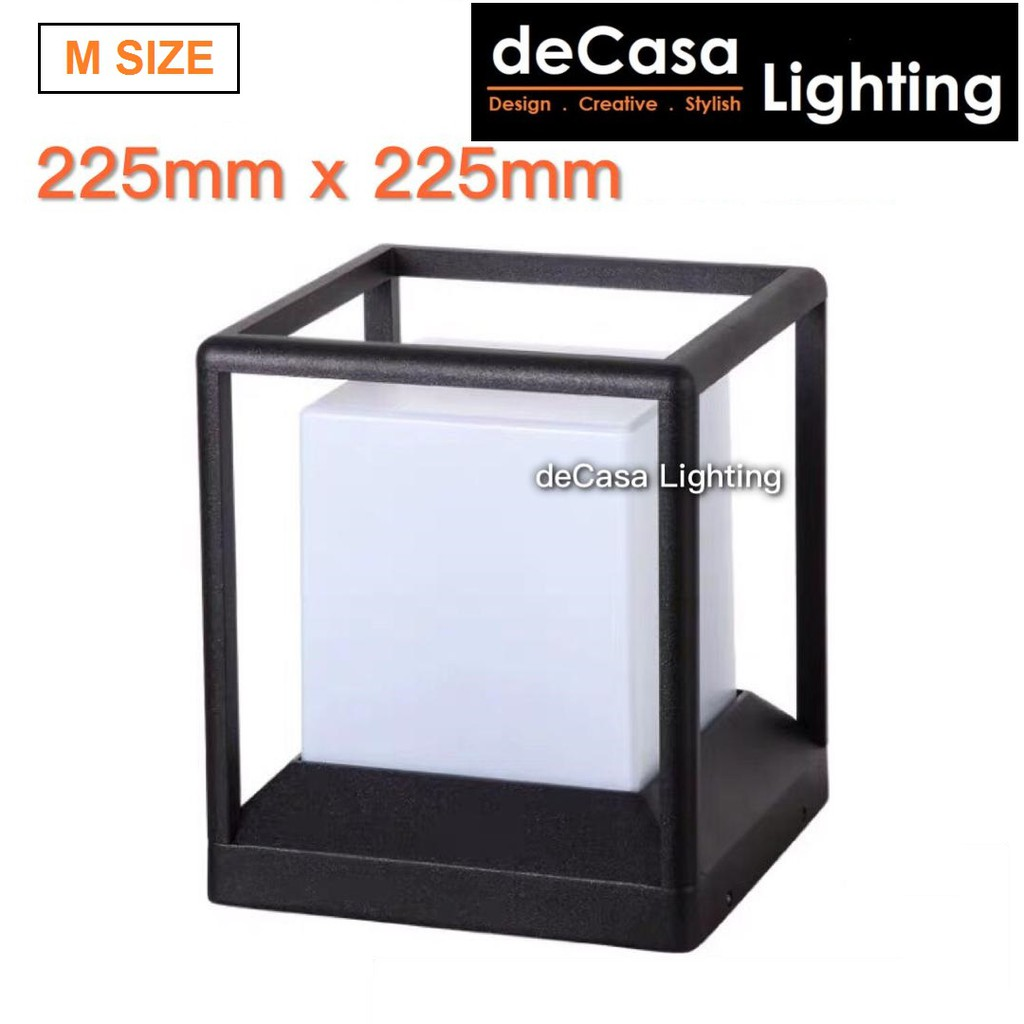 Optional Set With 9W LED BULB Outdoor Pillar Light Black Cube M Size Outdoor Lighting DECASA Outdoor Gate Lamp G1391