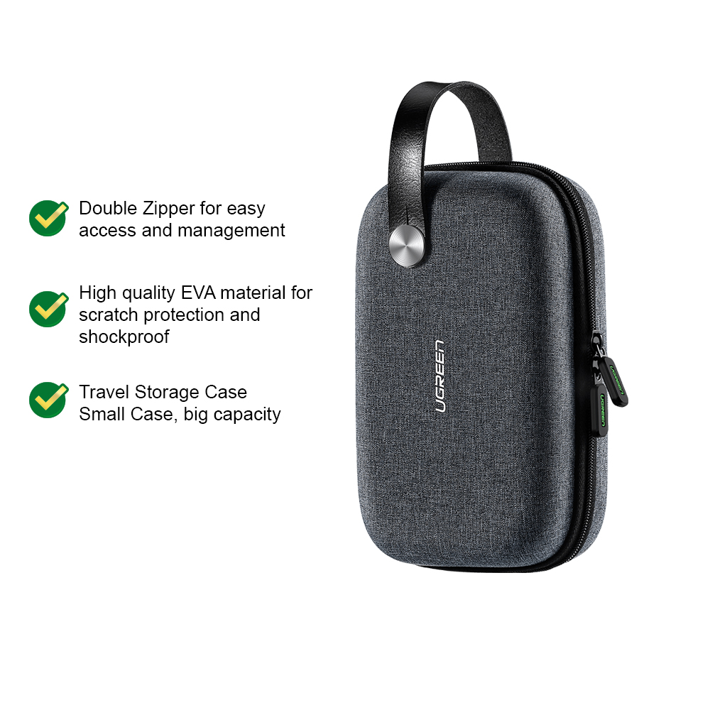 UGREEN Hard Disk Powerbank Storage Bag Travel Storage Case Waterproof Storage USB Cable Adapter Accessories Earphone