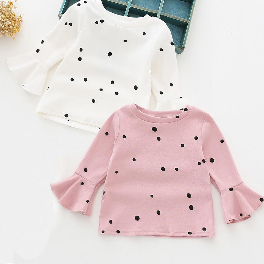 4bcac6a7e09 Kid Toddler Baby Girl Ruffled Sleeve Polka Dot T-shirt Top Casual Tee Shirt