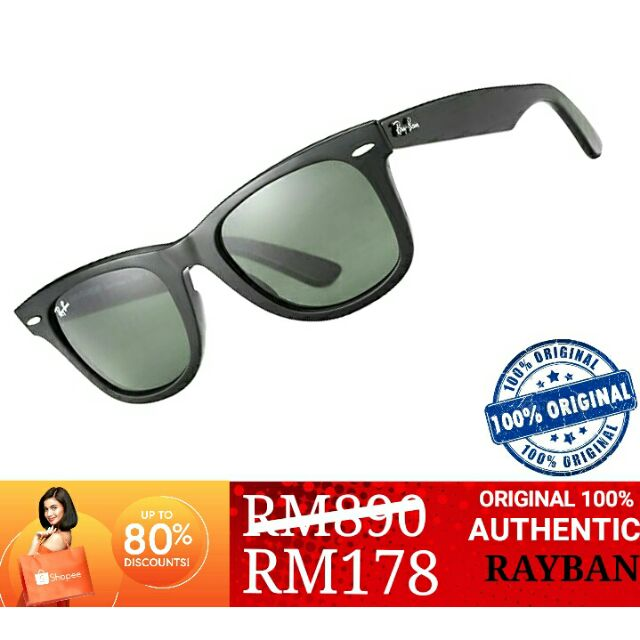 Rayban 2140 901 58 52mm Wayfarer Polarized Sunglasses   Shopee Malaysia b819b25773
