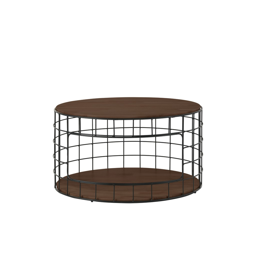 Prkica Round 800mm Solid Wood Coffee Table with Metal Leg / 2 Layers Coffee Table / Living Room Furniture