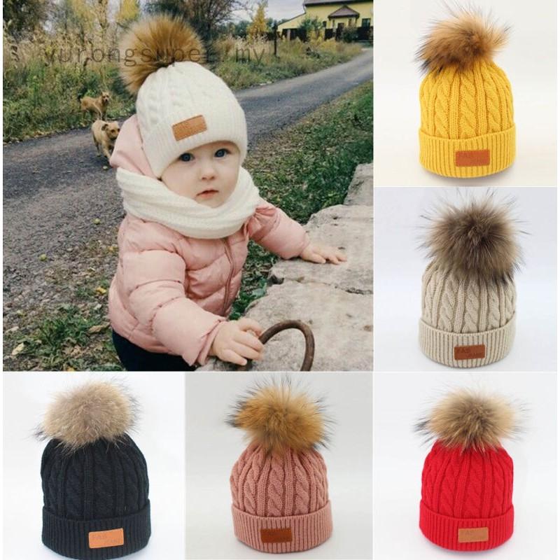 1948d20be Newborn Baby Boy Girl Winter Warm Fur Pom Bobble Cable Knit Beanie Hat Caps  Cute