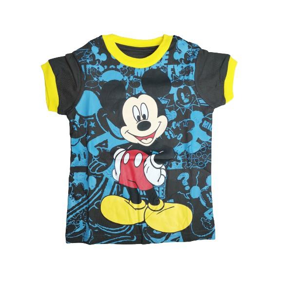 POLOUS Boy Cotton Short Sleeve Round Neck Shirt 9005-MICKY MOUSE
