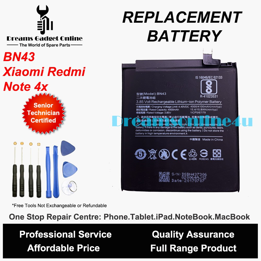 Replacement Battery BN43 for Xiaomi Redmi Note 4X 4000mAh