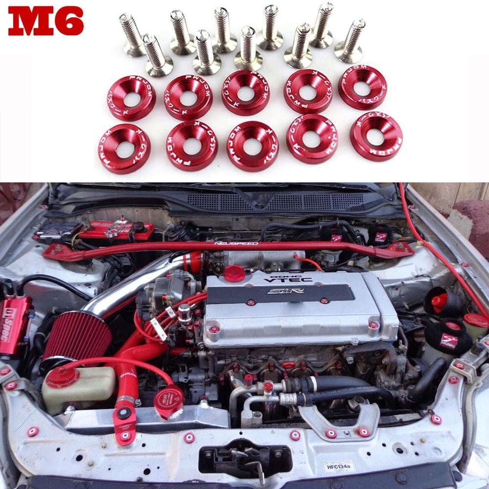 20Pcs Billet aluminum bumper fender M6 screw bolt washer engine bay dress up kit,Blue