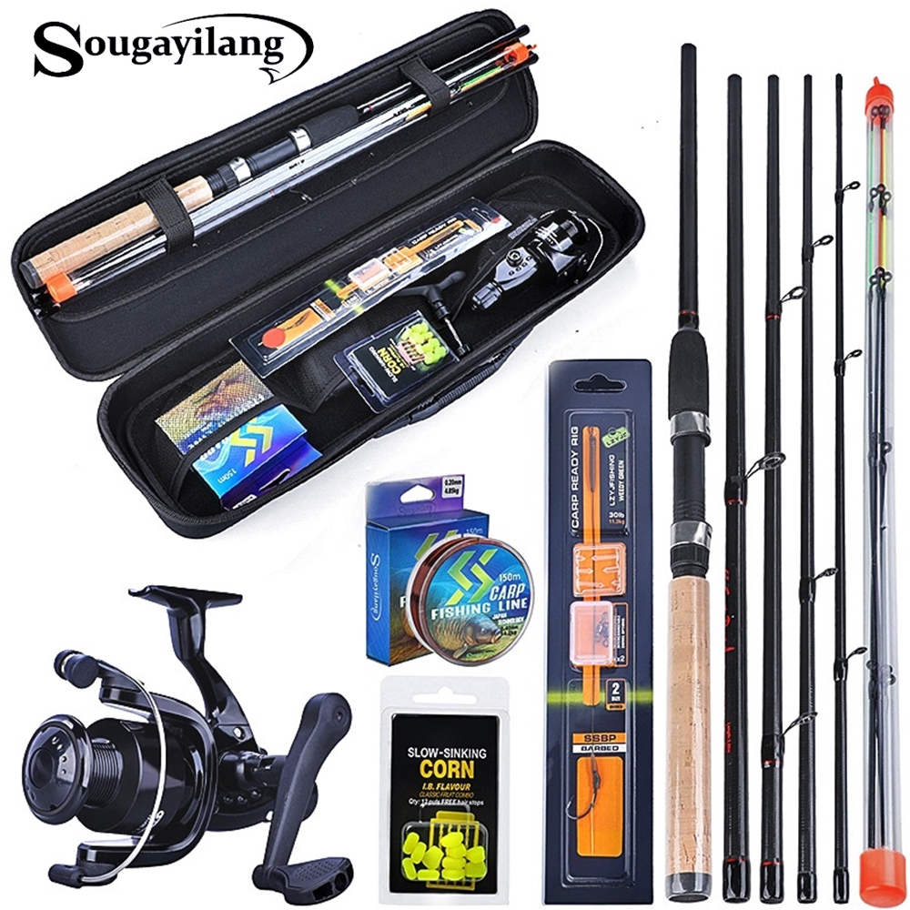 Sougayilang 3.0m Fishing Set L M H Power Feeder Rod and Carp Reel with Carp Line Lure Hook Accessories Carrier Bag Combo