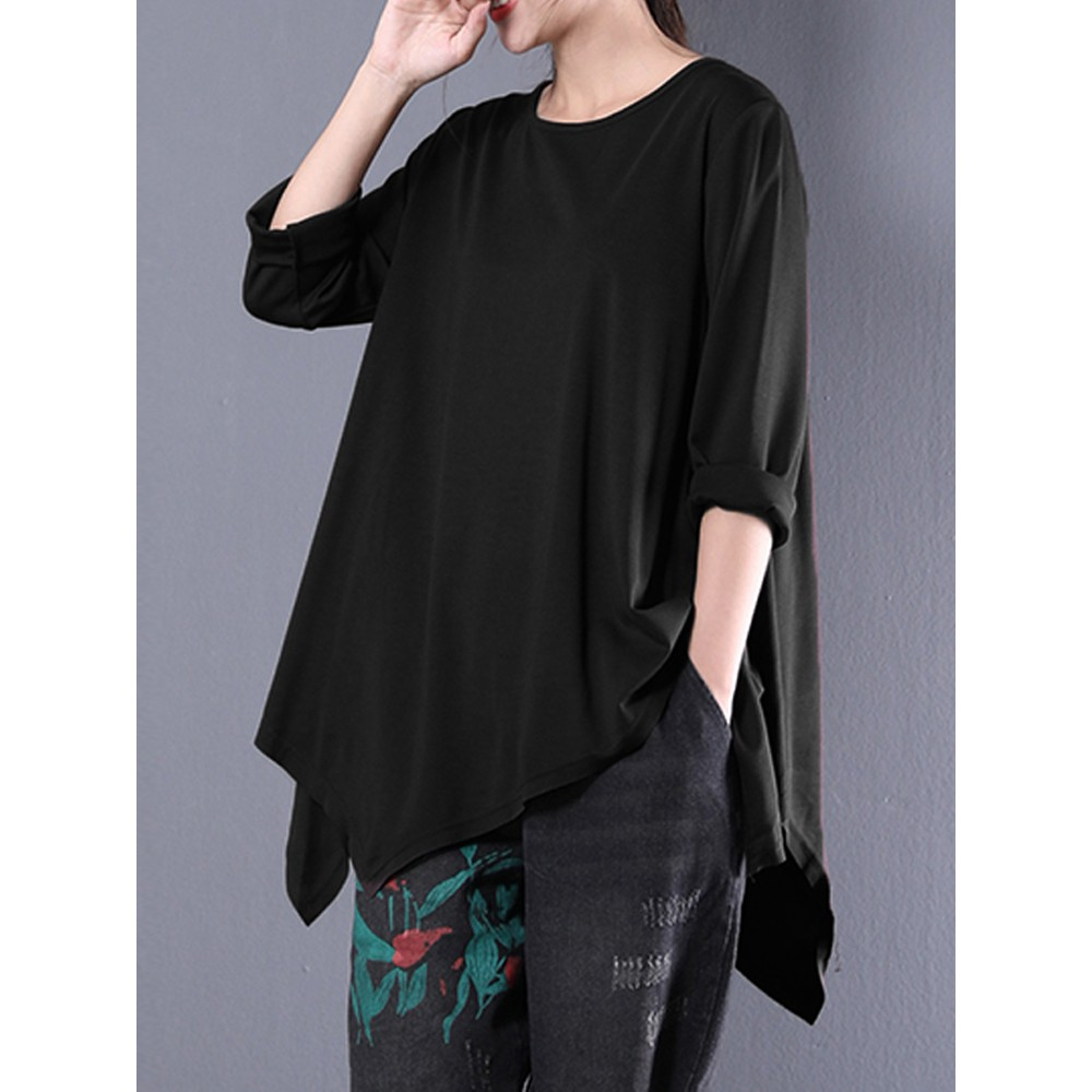 e88c9244865 Celmia Women Crew Neck Loose Half Sleeve Casual Irregular Hem Blouse Top T  Shirt   Shopee Malaysia
