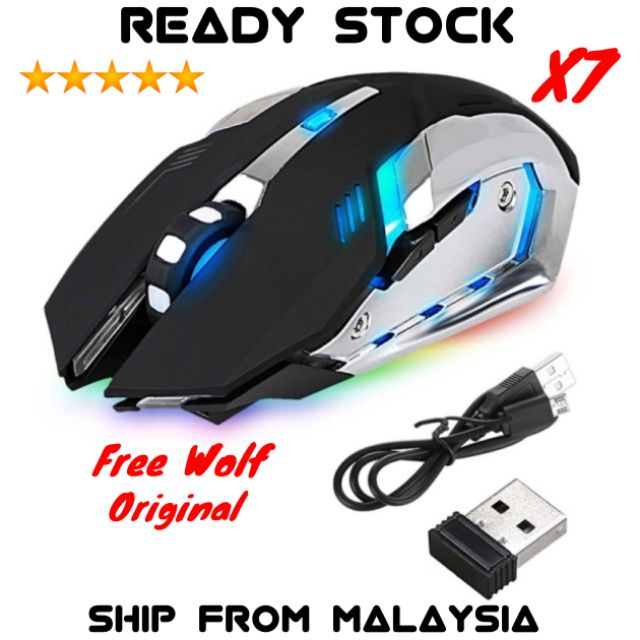 Rechargeable Wireless X7 LED Backlit Optical Ergonomic USB Gaming Mouse Black RF