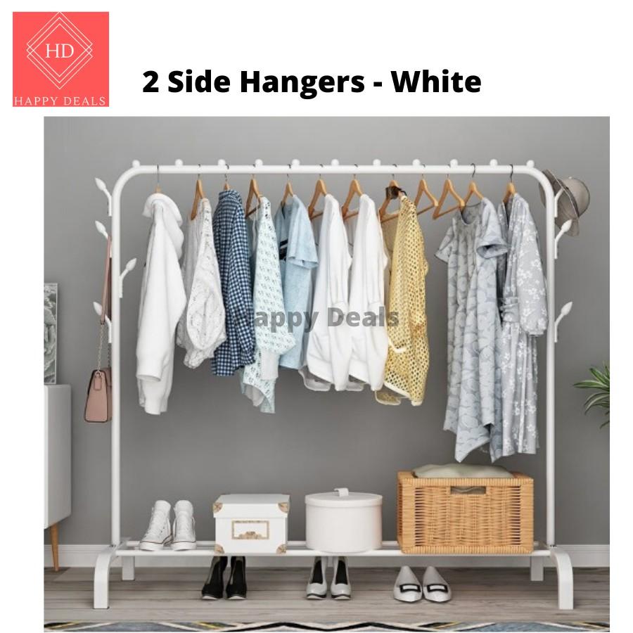 Happy Deals Clothes Rack Hanging Organizer / Standing Garment Rack with extra hangers / Wardrobe 衣架 站立型衣架 两层衣架 衣橱 衣柜