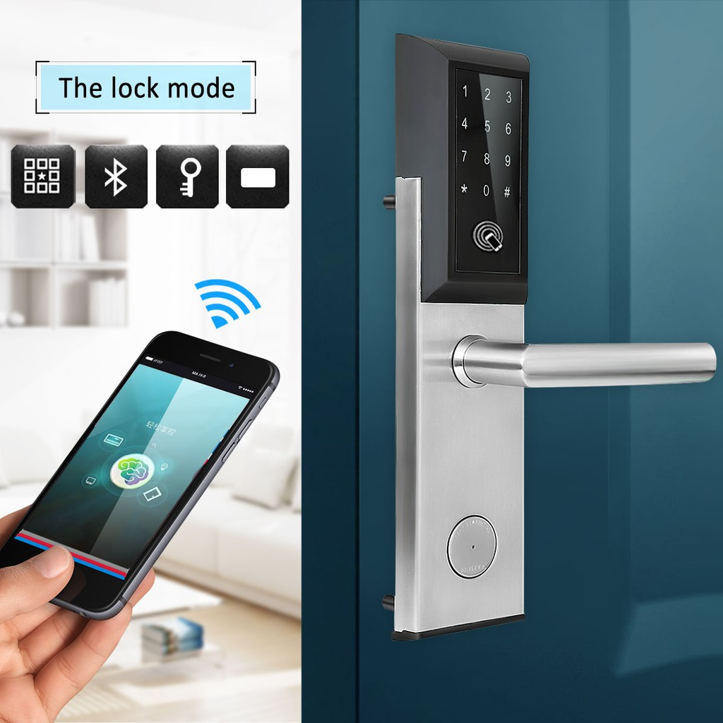 Electronic Digital Smart Password Door Lock Keypad Touch Screen With Gold Keyless Rfid Card Shopee Malaysia