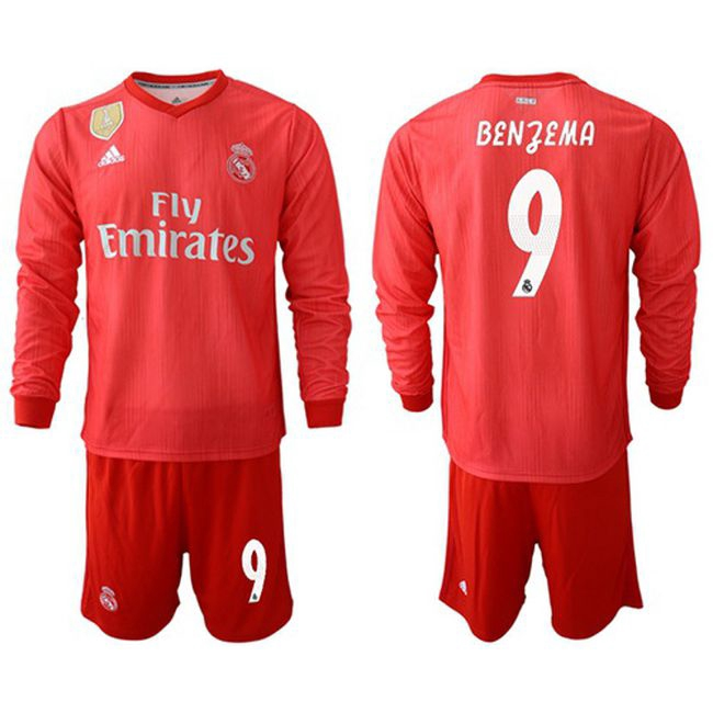the best attitude 513d2 9bf14 2018 2019 Ready Stock Real Madrid #9 Benzema Third Long Sleeves Soccer Club  Jersey Breathable Training Football Jersey