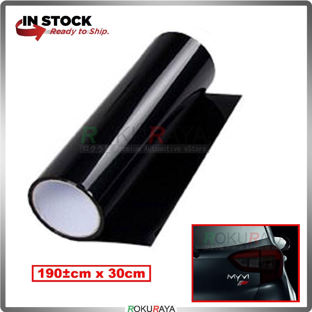 [30CM x 100CM] 3ply Car Motorcycle Tint Fog Head Lamp Brake Tail Light Vinyl Film Sticker Wrap (Dark Black)