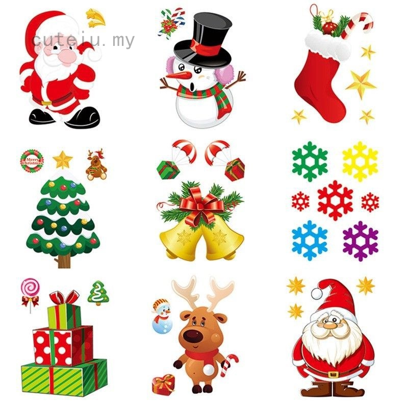 Merry Christmas Santa Claus Wall Stickers Xmas  Party Window Removable DIY Decor
