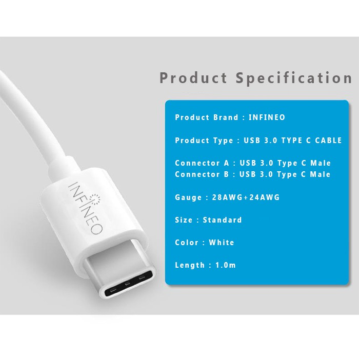(FREE 6 in 1 Cable Tie) Infineo Type C to USB 3.0 Sync Data & Charging Cable