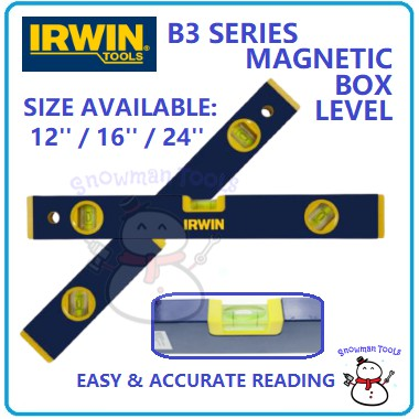 MAGNETIC BOX LEVELS IRWIN BRAND MAGNETIC BOX B3 SERIES TORPEDO LEVEL 12INCH 16INCH 24INCH LEVEL MEASUREMENT CENTER LEVEL