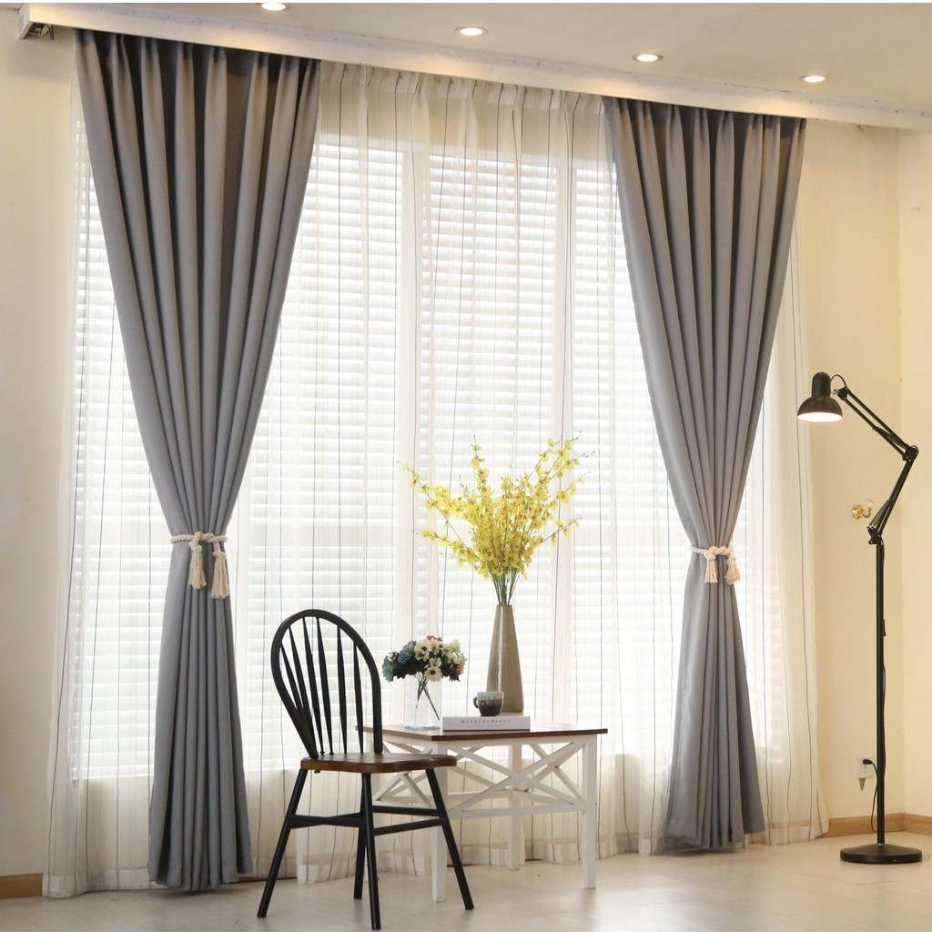 Sortina 1 Pc Langsir Curtain Window Blackout Curtains For Bedroom Living Room Grey Curtain Room Door Linen Curtains