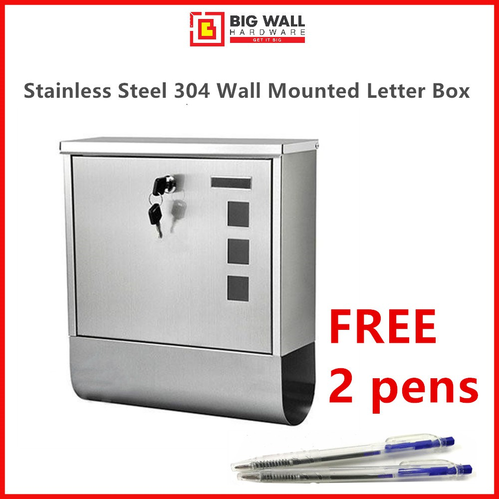Stainless Steel 304 Wall Mounted Letter Box / Mailbox *Peti Surat 邮箱 Big Wall Hardware