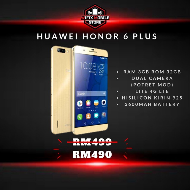 100% Original Huawei Honor 6 Plus/4GLTE/3GB Ram/32GB Rom