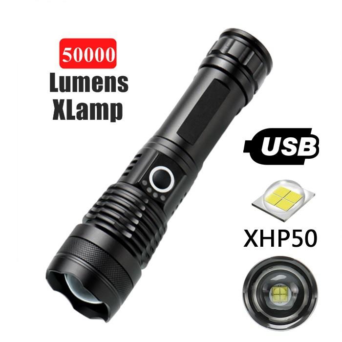50000 lumens XLamp XHP50 most powerful flashlight usb Zoom led torch