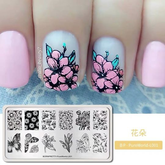 nail stamping,nail art supplies,nail art,nail decoration,manicure stainless steel ink Stamping plates stamp rectangle marble theme