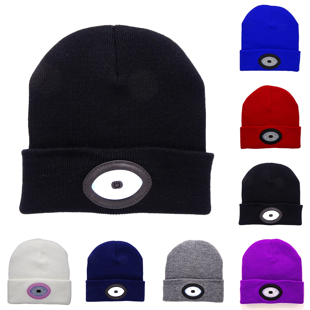 a9eec18d9a0 Unisex Knitting Warm Outdoor Running Hiking Hat Eye Beanie LED Light USB  Rechargeable Cap Cycling