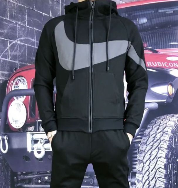 European new men's cardigan suit, fashionable stitching hooded sweater + trendy casual men's suit