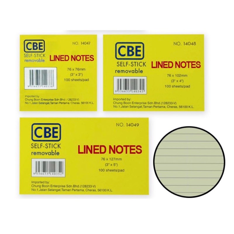 【READY STOCK】CBE Removable Self-Stick Notes /Sticky Notes/ Line Notes (100 Sheets)