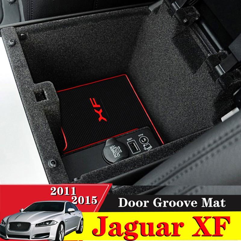 Color : Black Red Car Door groove mat For Jaguar XF 2011-2015 Accessories,3D Rubber Car Mat Gate slot pad Non-slip mats Car decoration 10PCS