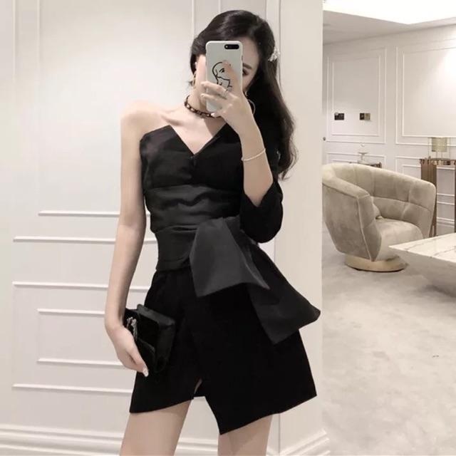 [Free Size]New design off shoulder dress秋装女新款黑色设计感半露肩大腰带装饰显瘦收腰气质连衣裙潮
