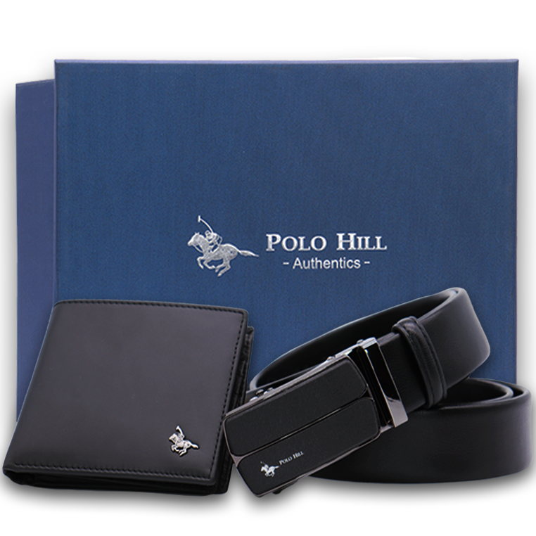 Polo Hill Men Gift Box Set Genuine Leather RFID Wallet Genuine Leather Automatic Buckle Belt PMAS-0A-001