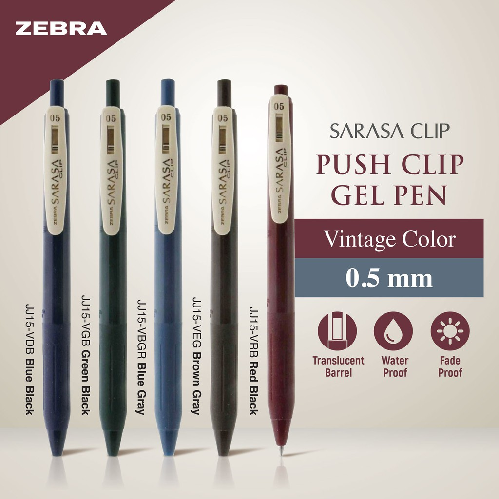 17bd95f7a60a Zebra Sarasa Push Clip Gel Pen -0.5 mm -Vintage Color (5 Colors Available)  | Shopee Malaysia