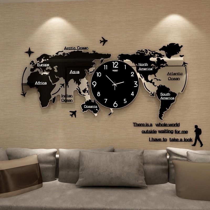 Large Size World Map Wall Clock