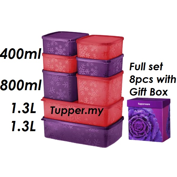 *Ready stock*4pcs/8pcs*Tupperware Snowflake Square Round Set with Gift Box 400ml/800ml/1.3L-Red/Purple