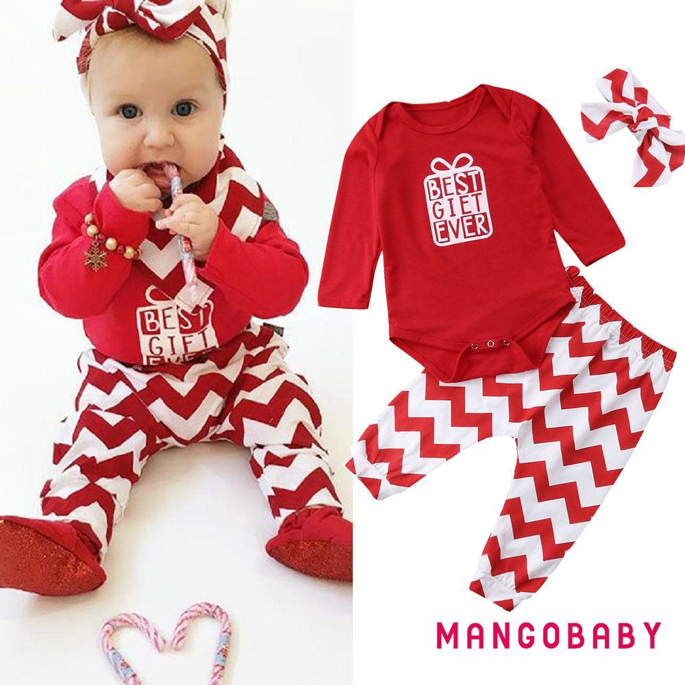 EG/_ Infant  Baby Girls Christmas Style Long Sleeve Romper Dress Headband Outfit