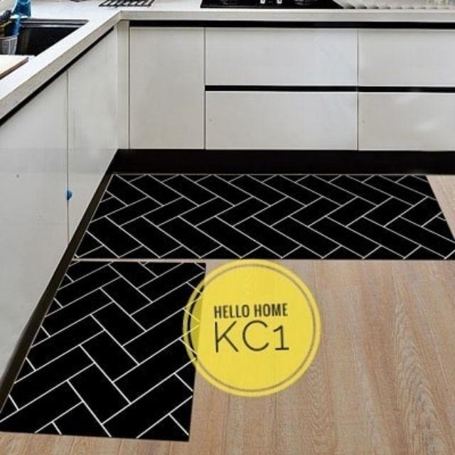 2 In 1 Kitchen Carpet Black White Alas Kaki Karpet Dapur Mat Sho Malaysia