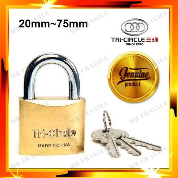 Tri-Circle Heavy Duty Brass Padlock / Kunci Mangga Tri Circle Padlock