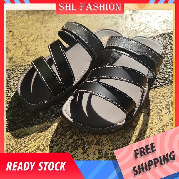 SHL Men PU Leather Sandal Casual Slip On Selipar Kasut Lelaki size 5-10【男士拖鞋】-685
