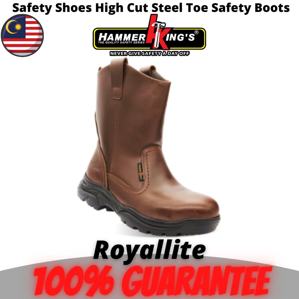 Hammer King's Safety Shoes Boots Steel Toe Cap Steel Mid Plate High Cut Pull Up Leather(13021) Brown