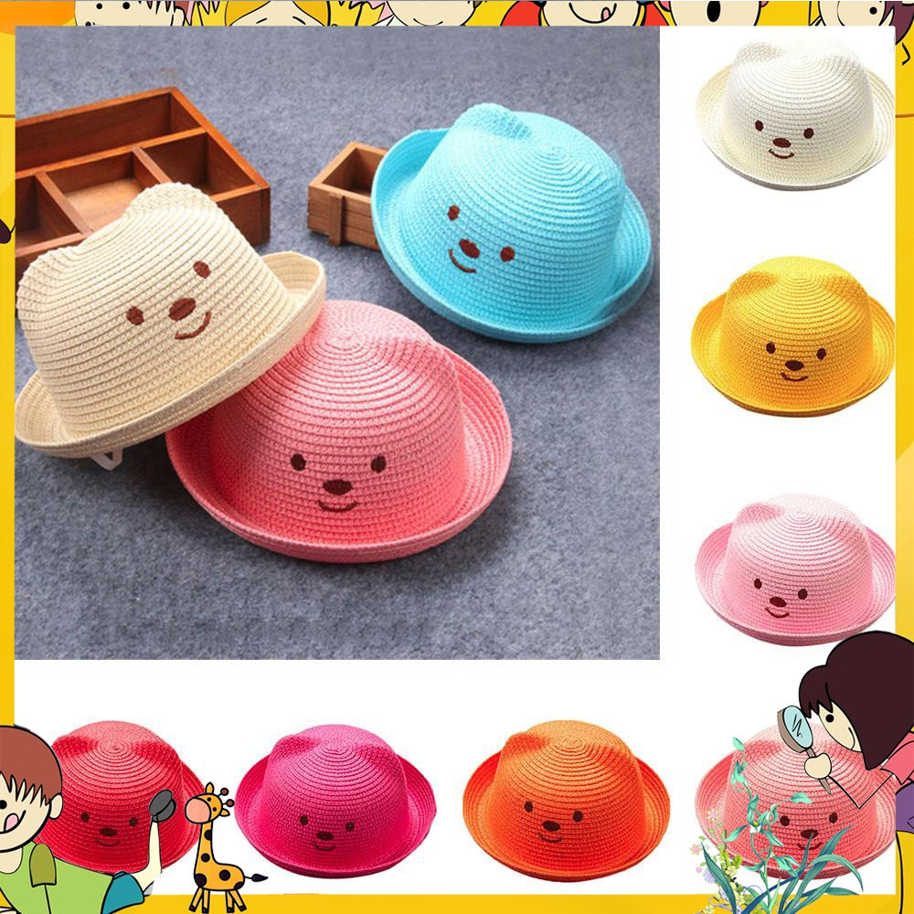 10d55ba75 🐯Baby Cartoon Children Breathable Hat Straw Hat Kids Hat Boy Girls Hat Cap