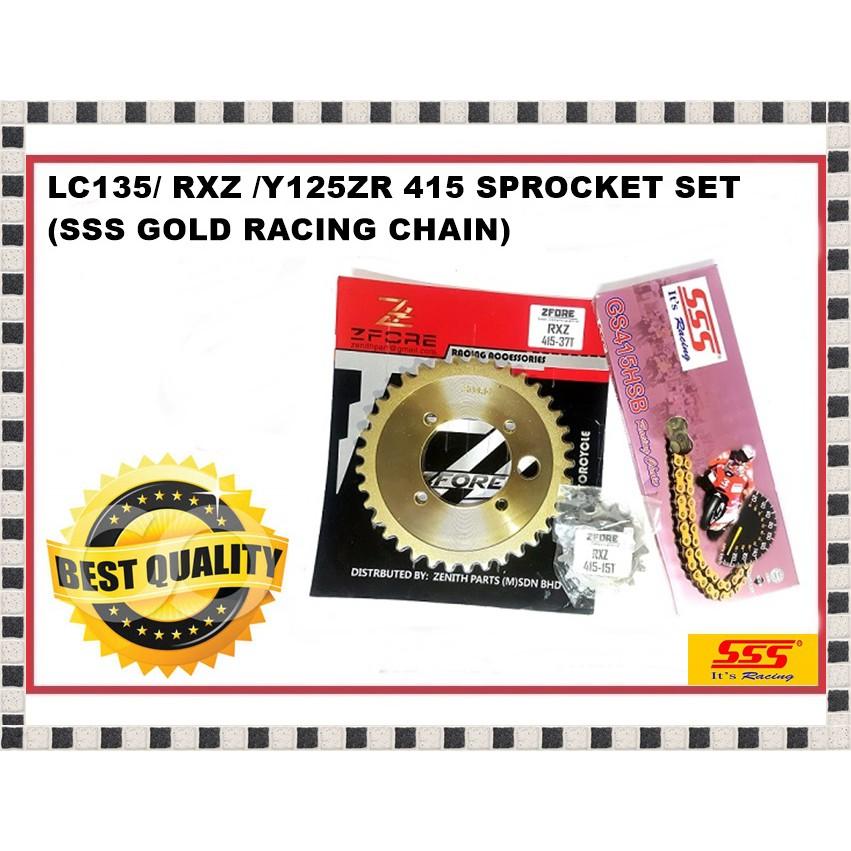 SSS 415HSB RACING GOLD CHAIN + ZFORE SPROCKET / RANTAI EMAS / LC13 / SRL110  / Y110 / Y125ZR / RXZ / Y100