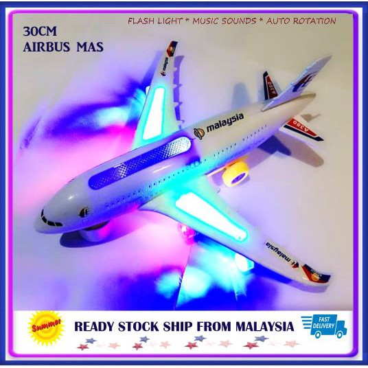 Airbus 30cm Flash Electric Flight A380 MAS King Air flashing light and sound effects auto rotation Toys Games kids