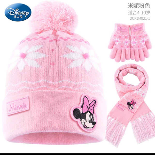Winter Hat /& Glove Set Kids Pink Beanie Age 4-10