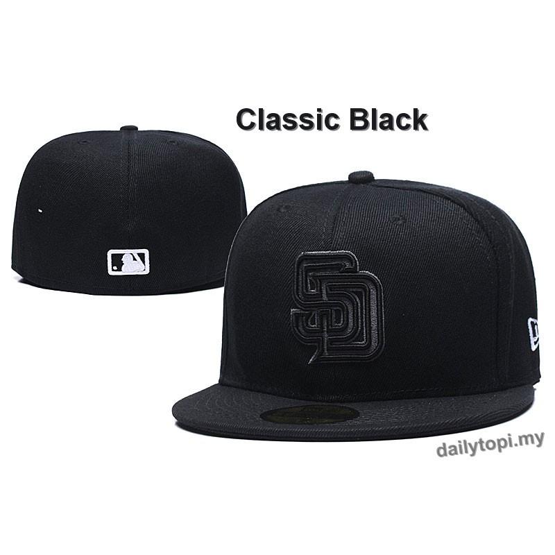 NEW PREMIUM SNAPBACK CAP *BLACK* PLAIN BASEBALL FITTED HIP HOP ERA FLAT PEAK HAT