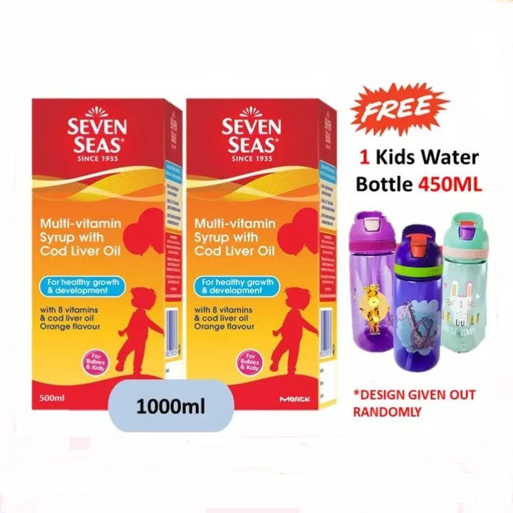 Seven Seas Multivitamin Syrup With Cod Liver Oil 500ML x 2 Free 1 Kids Children Water Bottle